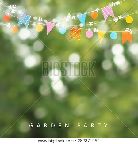 Spring Or Summer Greeting Card, Invitation. String Of Lights, Bunting Flags And Cherry Blossoms. Mod