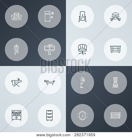 Home Decoration Icons Line Style Set With Wall Mirror, Fridge, Picnic Table And Other Stand Vanity E