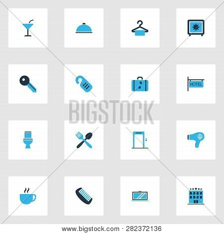 Tourism Icons Colored Set With Elevator, Meal, Food And Other Suitcase Elements. Isolated Vector Ill