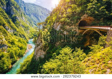 Top view on the great canyon of river Piva. Location place National park Durmitor, Pluzine town, Montenegro, Balkans, Europe. Scenic image of popular travel destination. Discover the beauty of earth.