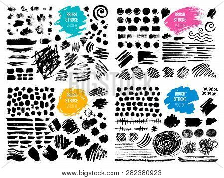 Set Stroke Spot Blod. Brush, Pen, Marker, Chalk. Black White. Vector Distressed Grunge Modern Textur