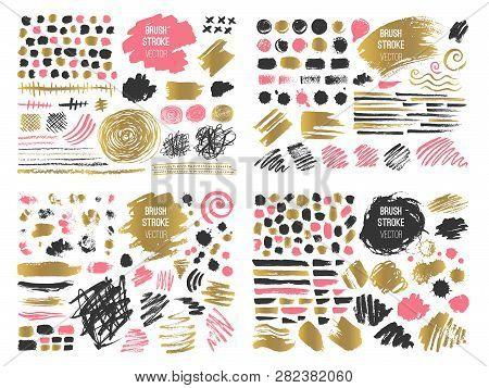 Set Stroke Spot Blod. Brush, Pen, Marker, Chalk. Golden Gold. Vector Distressed Grunge Modern Textur