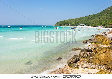 Pattaya, Thailand - February 02, 2017: Tourists Relaxing On The Beach Of Ko Lan Island In The Gulf O
