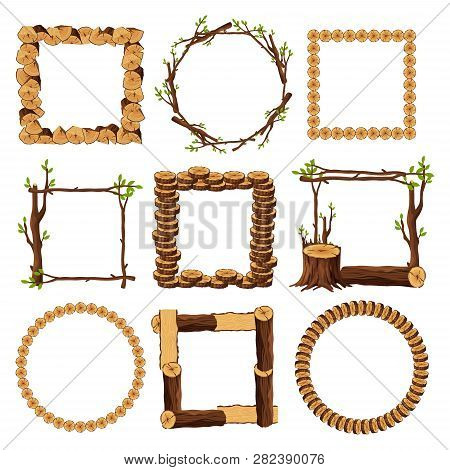 Wooden Frames Set Isolated On White Background. Square And Round Timbered Borders Collection With Br