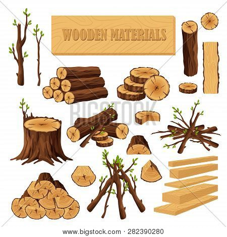 Set Of Firewood Materials For Lumber Industry Isolated On White Background. Collection Of Wood Logs