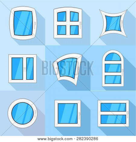 Types Of Casement Icons Set. Flat Set Of 9 Types Of Casement Icons For Web With Long Shadow