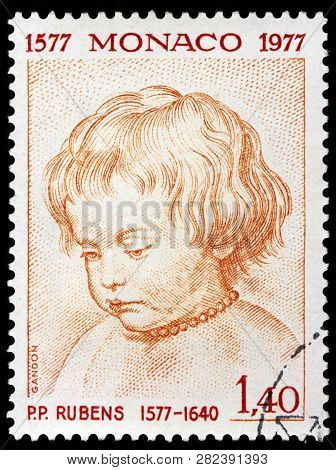 Luga, Russia - January 24, 2019: A Stamp Printed By Monaco Shows Image Portrait Of Famous Flemish Ar