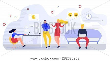 Office Communication Flat Vector Concept With Office Worker, Company Employees, Freelancer Man And W