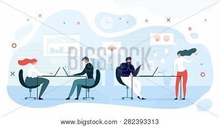 Lazy Company Employee Shirking Of Work Flat Vector With Female And Male Office Workers Sitting At Wo