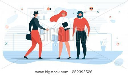Business People Communication Flat Vector Concept With Businesswoman Shaking Hand To Partner, Compan