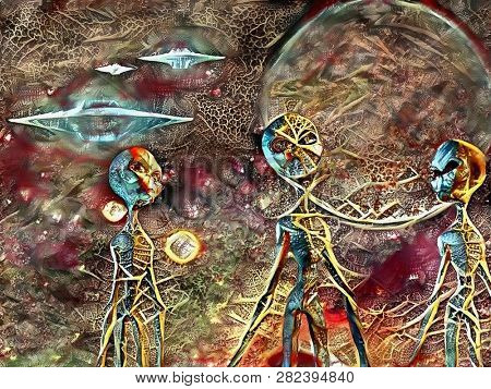 Surreal painting. Three aliens. Flying saucers in the sky. 3D rendering