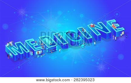 3d Neon Isometric Word Medcine On Gradient Background With Neural Network. Future Medical Technology