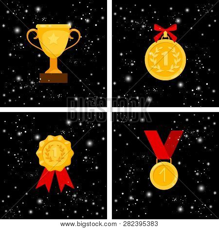 Gold Awards. Colden Cup And Medal, Emblem And Prize Award Set, 1st Place Winner Achievement Badges W