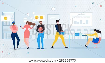 Office Workers Informal Communications Flat Vector Concept. Business Colleagues, Company Employee Ta