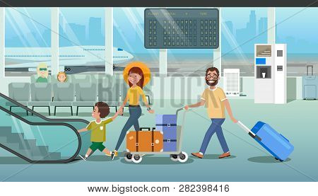 Family Departure Or Arrival In Airport Cartoon Vector Concept With Father Pushing Baggage Trolley Wi