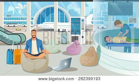Businessman On Trip Or Traveling Freelancer Comfortably Meditating In Airport Recreation Area With M