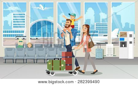 Young Family Vacation Flight Cartoon Vector With Happy Millennial Parents Carrying Baggage On Cart,