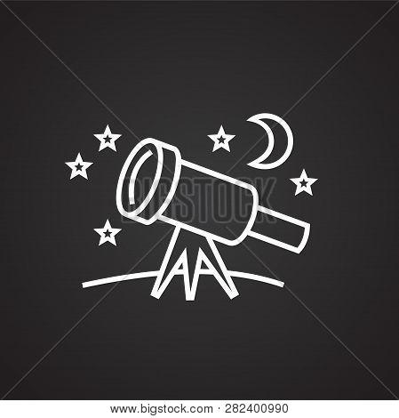 Astronomy Telescope Thin Line On Black Background Icon