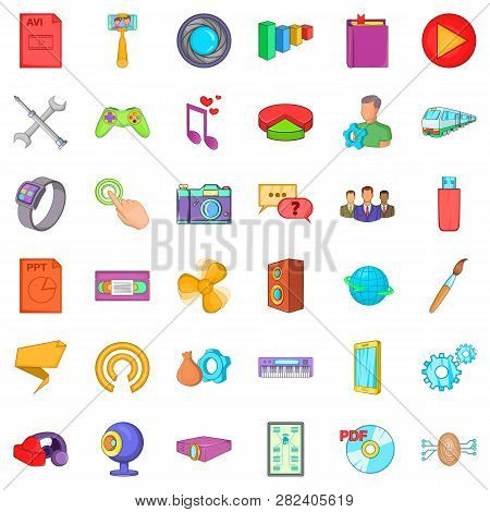 Application For Gadget Icons Set. Cartoon Style Of 36 Application For Gadget Icons For Web Isolated