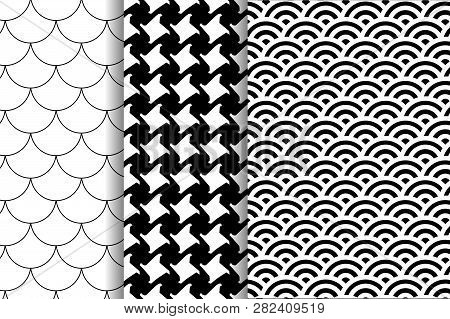 Set Three Patterns. Pepitas Pattern. Black And White Pattern. Japanese Pattern. Fish Scale Motif.