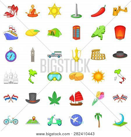 Trip Icons Set. Cartoon Style Of 36 Trip Icons For Web Isolated On White Background