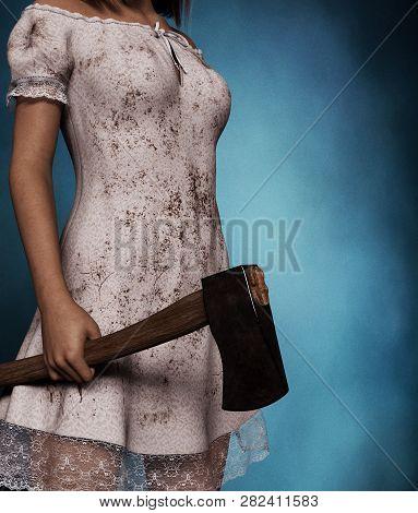 Sister Of Horror,killer Woman With Hatchet,3d Rendering