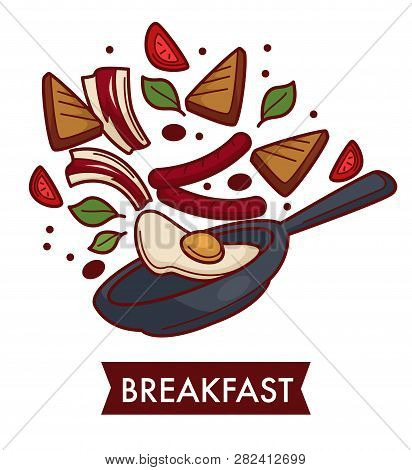 Breakfast Fried Eggs With Bacon And Sausages On Frypan Cooking