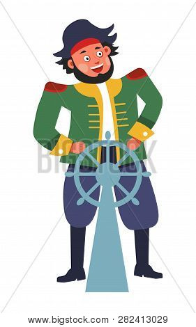 Pirate With Steering Wheel Or Rudder Isolated Male Character