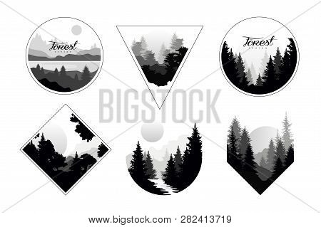 Set Of Monochrome Landscapes In Geometric Shapes Circle, Triangle, Rhombus. Natural Sceneries With W