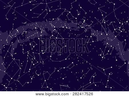 Northern Hemisphere Constellations, Star Map. Science Astronomy, Star Chart On Blue Background