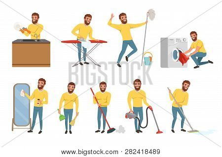 Bearded man with different household chores. Cleaning floor with mop and vacuum cleaner, washing dishes, ironing clothes. Happy house husband. Flat vector set poster
