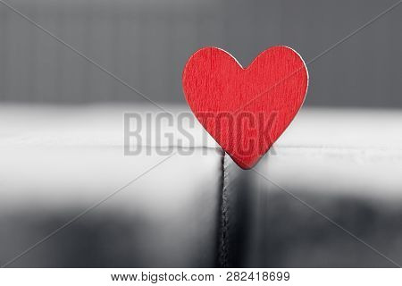 Valentine Background With Handmade Heart On Rustic Wood