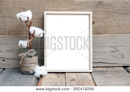 8x10 Vertical Thin Box Frame On A Wooden Table, Rustic Style, Wooden Background, Frame Mockup