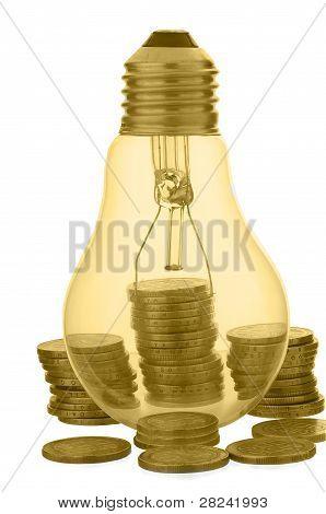 Bombilla Amarilla Con Monedas