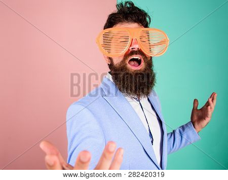 Businessman Fed Up Being Serious. Enjoy Being Yourself. Sincere And Natural. Hipster Formal Clothes