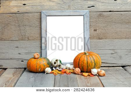 8x10 Vertical Frame Mockup, Halloween Styled Wooden Frame