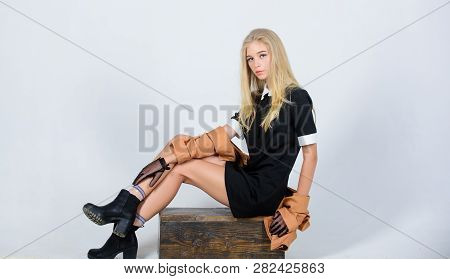 Fashionable Uniform. Vintage And Retro Style. Vintage Fashion Concept. Girl Blonde Wear Elegant Blac