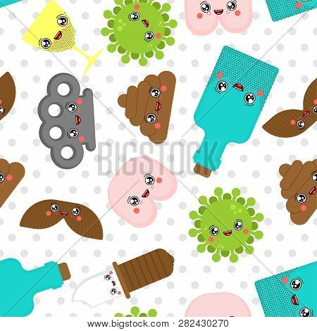 Cute Bad Pattern Seamless. Bully Cartoon Background. Funny Kawaii Shit And Ass. Knife And Brass Knuc
