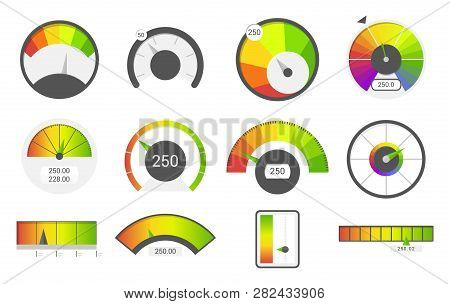Speedometer Icons. Credit Score Indicators. Speedometer Goods Gauge Rating Meter. Level Indicator, C