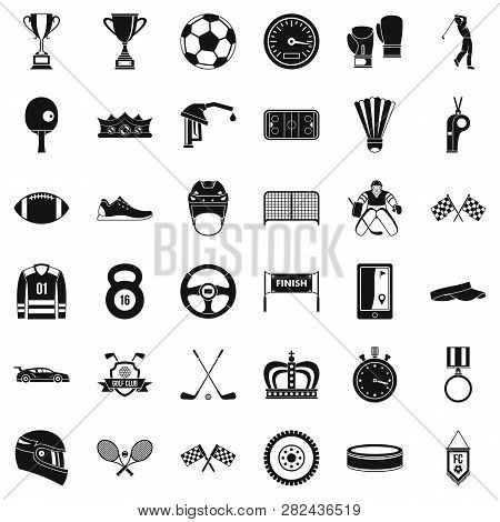 Achievement Icons Set. Simple Style Of 36 Achievement Icons For Web Isolated On White Background