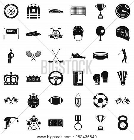 Sport Achievement Icons Set. Simple Style Of 36 Sport Achievement Icons For Web Isolated On White Ba