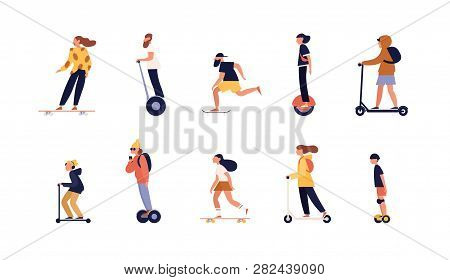 Collection Of People Riding Skateboard, Longboard And Modern Personal Transporters - Hoverboard Or S