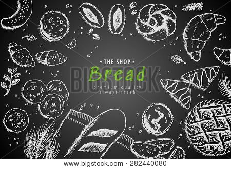 Vector Bakery Vintage Background Design. Hand Drawn Bread Sketch Illustration With Wheat, Flour On D