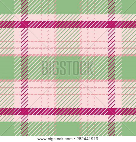 Light Green And Pink Tartan Plaid Pattern In Fresh Summer Tones.. Seamless Sophisticated Vector Desi