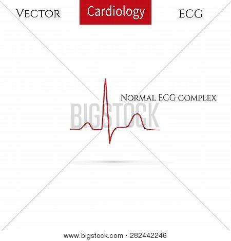 Electrocardiogram, Ecg Line, Normal Sinus Rhythm. Vector Medical Icon.