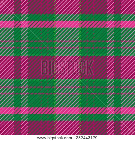 Dark Green And Purple Plaid Pattern In Summer Heather Tones.. Seamless Elegant Vector Design. Perfec