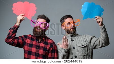 Men With Beard And Mustache Mature Hipster Wear Funny Eyeglasses. Explain Humor Concept. Funny Story
