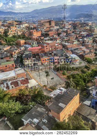 Comuna Or Slum / Slums In Medellin Colombia. Comuna 13 Is Known For Escalators Between Streets. Colo