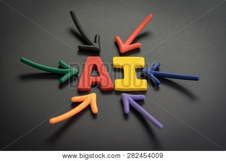 Ai Artificial Intelligence Concept, Colorful Arrows Pointing To The Alphabet Combine Acronym Ai At T