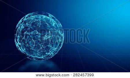 Concept of Global Network, internet communication. 3d illustration on blue background